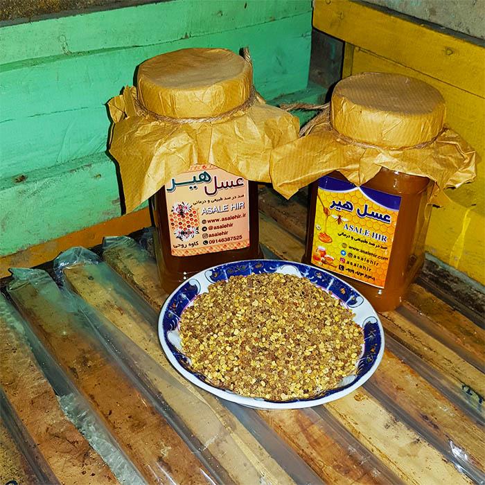 عسل طبیعی و گرده گل